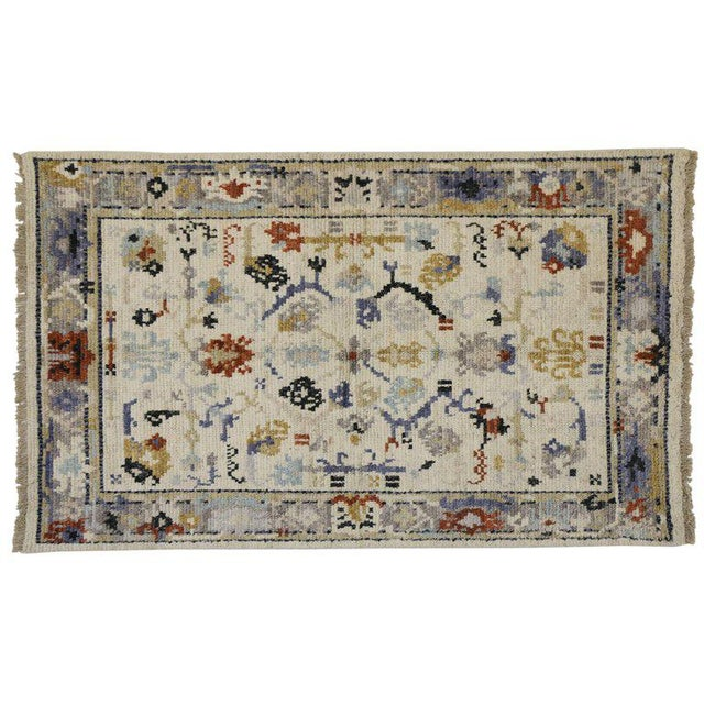 Transitional Blue and Cream Oushak Rug with Modern Traditional Style For Sale - Image 4 of 5