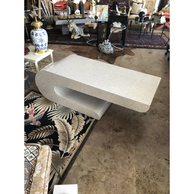 Mid-Century Modern Vintage Karl Springer Cantilevered Coffee Table For Sale - Image 3 of 12