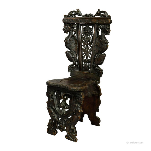 A Great Renaissance Style Italian Sgabello Chair Ca. 1860 For Sale - Image 13 of 13