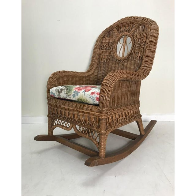 Contemporary Vintage Henry Link Rattan Wicker Rocking Chair For Sale - Image 3 of 7