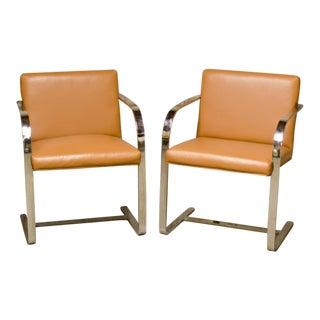 1930s Modern Knoll Brno Flatbar Beige Side Chairs - a Pair