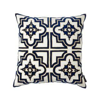 Belgrove Linen & Velvet Accent Pillow For Sale