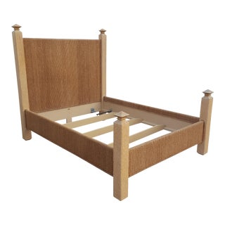 Lexington Artisan Handmade Carved Wood and Woven Rush Queen Size Bed For Sale