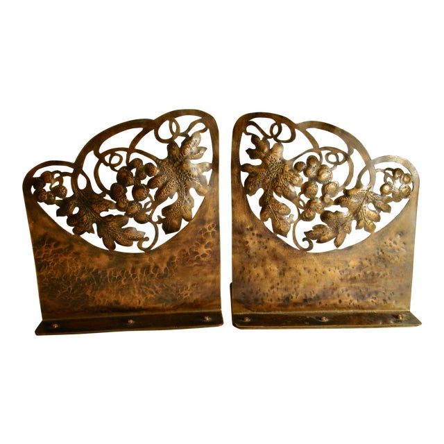 Arts and Crafts Pierced Copper Bookends - a Pair For Sale