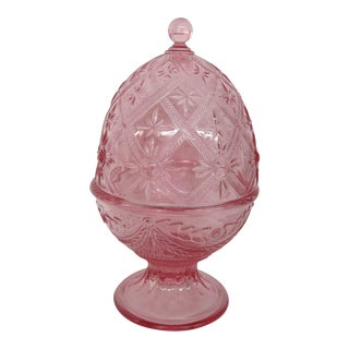 Le Smith Alexandra Pink Glass Egg Shaped Dome Candy Dish With Lid For Sale