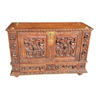 Hand-Carved Walnut Portuguese Cabinet