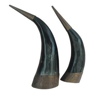 Arteriors Embossed Authentic Horns - A Pair