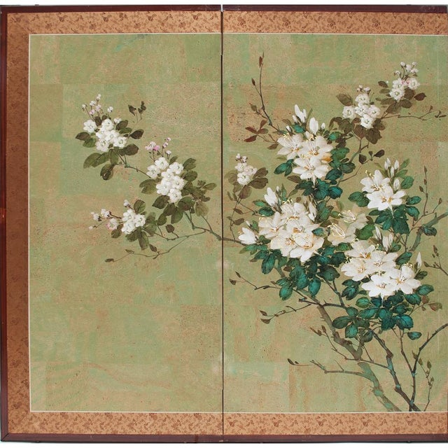 A beautiful Japanese 4-panel Byobu depicting two lovely small blue and brown birds on Japanese Cameo, Flowering Quince in...