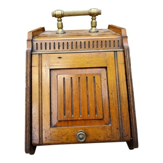 Antique Wooden Coal Box With Brass Shovel For Sale