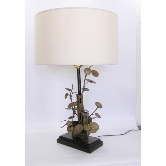 Silas Seandel Brutalist Metal Table Lamp-Curtis C. Jere Raindrops Sculpture Style Mid-Century Modern MCM Millennial For Sale - Image 11 of 11