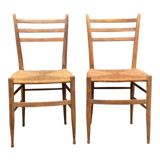 Mid Century Gio Ponti Style Side Chairs - a Pair For Sale