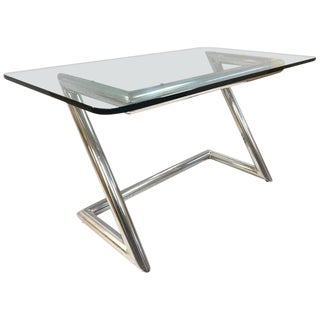 John Mascheroni Polished Aluminum and Glass Desk For Sale