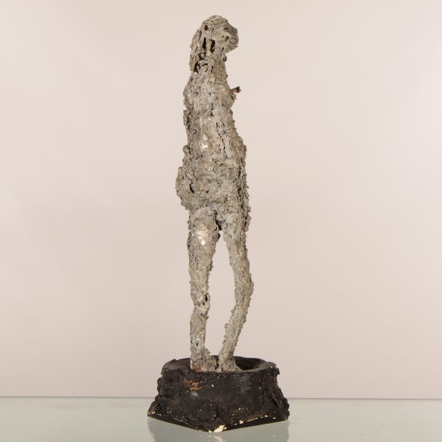 """Metal """"Silver Lady"""" Figurative Sculpture Statue For Sale - Image 7 of 12"""