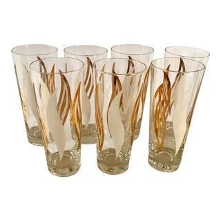 Mid-Century Modern Gold & White Highball Glasses - Set of 7 For Sale