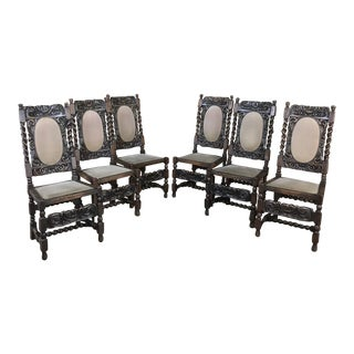 Set of 6 Antique Renaissance Barley Twist Dining Chairs For Sale