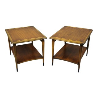 Pair Lane Altavista Dovetail Top End Tables Walnut Mid Century Modern Acclaim