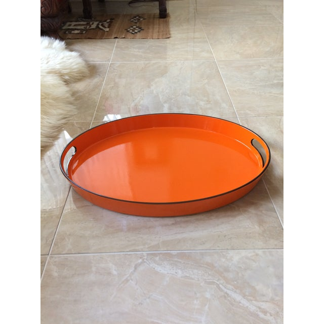 Orange Lacquer Oval Hermès Inspired Serving Tray - Image 5 of 12