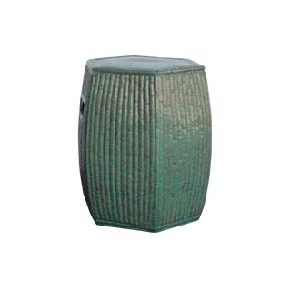 Chinese Hexagon Bamboo Theme Turquoise Green Ceramic Clay Garden Stool For Sale