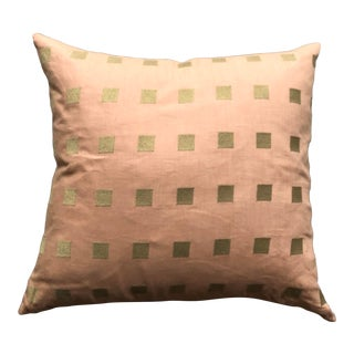 """16"""" Chalet Blush and Gold Pillow For Sale"""
