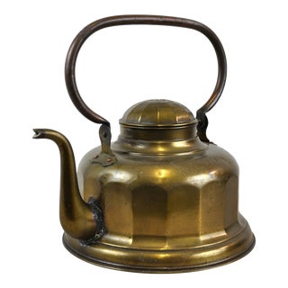 Vintage Art Deco Brass Kettle Teapot For Sale