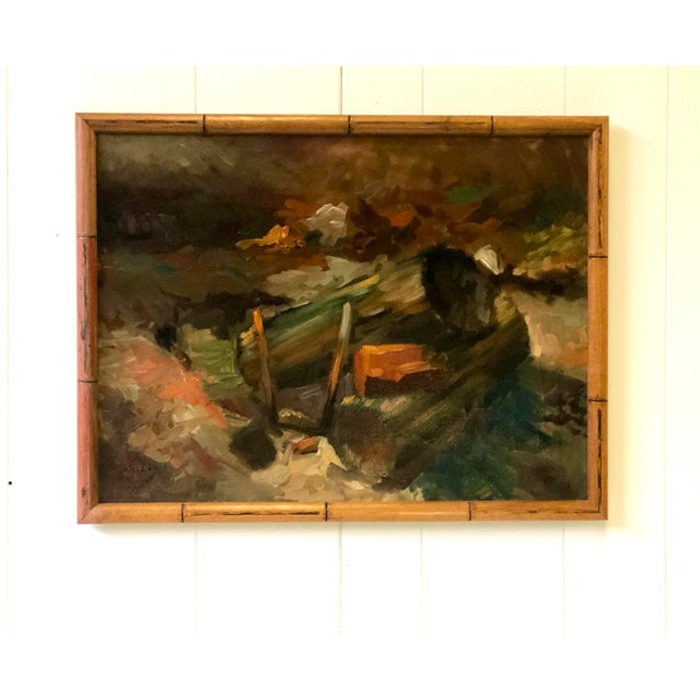 Brown Vintage Impressionistic Campfire Painting For Sale - Image 8 of 9