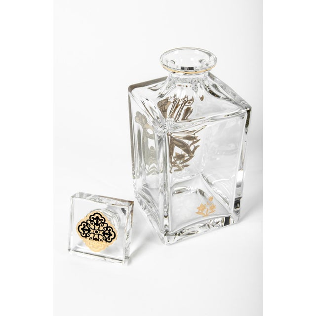 European Crystal Decanter with Gold Monkey Design For Sale - Image 4 of 5