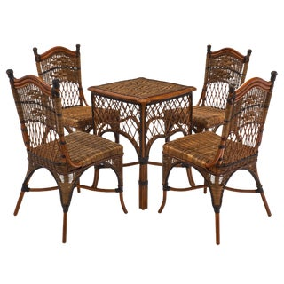 English Wicker Set of Chairs and Table For Sale