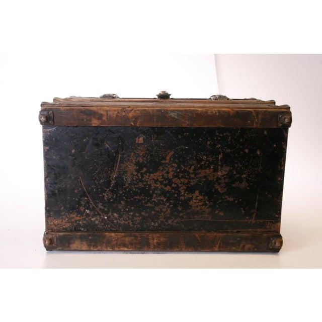 Victorian Wood & Metal Flat Top Brown Steamer Trunk - Image 8 of 11