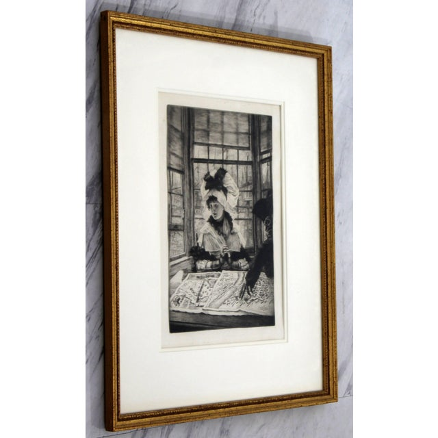 Vintage Antique James Tissot Histoire Ennuyeuse Etching Dated 1878 For Sale - Image 4 of 9