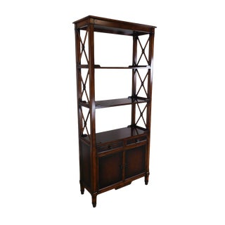 Hickory White Regency Style Mahogany Etagere Bookcase With Leather For Sale