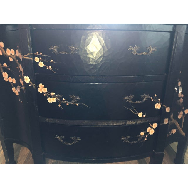 Tres Chic. Traditional bombay stylings with an eclectic whimsical edge. Hand painted Japanese cherry blossoms, antiqued...