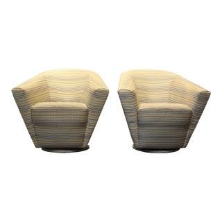 Dramatic Sculptural 1980's Swivel Club Chairs