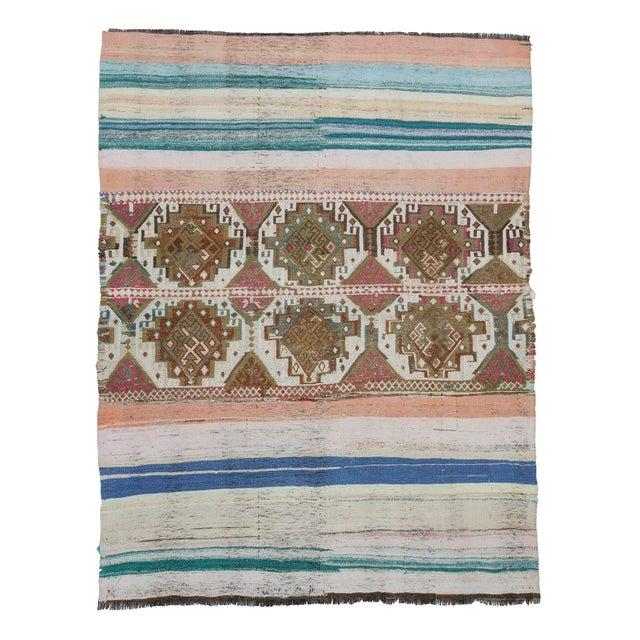 Textile Vintage Decorative Unique Small Kilim Rug For Sale - Image 7 of 7