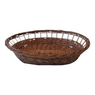 Vintage Wicker Dog Bed Basket For Sale