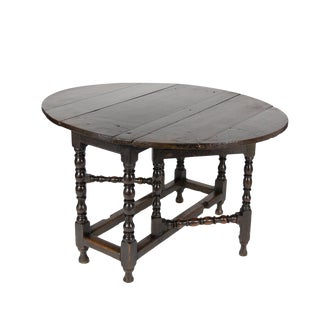 Handsome English Oak Gateleg Table With Bobbin Turned Legs, Wonderfully Rich Patination, Circa 1800. For Sale