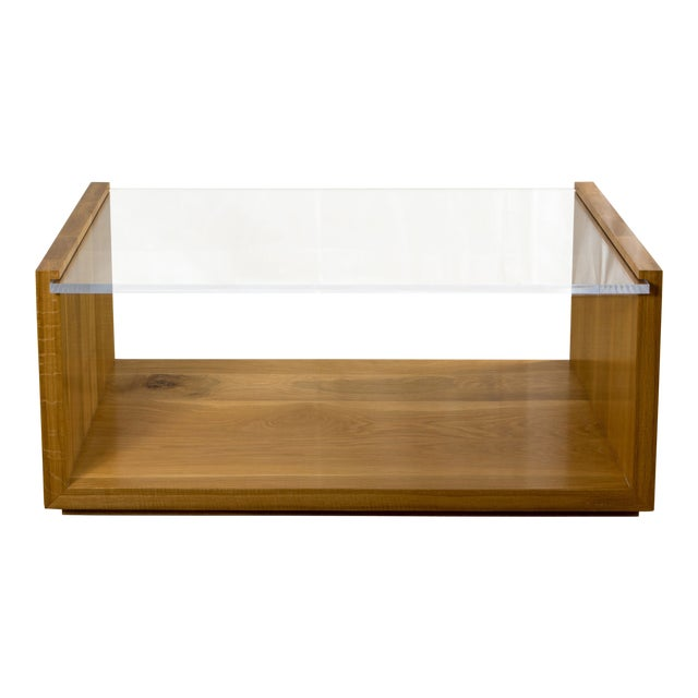 Contemporary Oak and Lucite Coffee Table For Sale