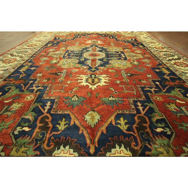"Red & Ivory Heriz Serapi Knotted Rug - 9'10"" x 14' - Image 5 of 10"