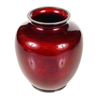 Antique Japanese Red Cloisonne Vase For Sale