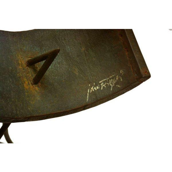 "For your consideration a vintage desk. The base is a metal sculpture signed y ""Jaime Artigas"". Beautiful abstract shape..."