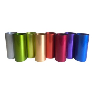 Vintage Mid-Century Modern Anodized Spun Aluminum Tumbler Cups - Set of 8 For Sale