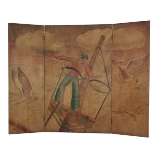 1940s WPA Hand Painted 3-Panel Folding Screen For Sale