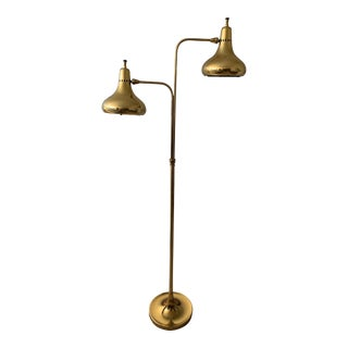 Vintage 50s 60s Mid-Century Modern Atomic Adjustable Brass Floor Lamp For Sale