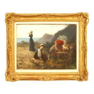 "19th Century Fanny Gambogi ""Women with Donkey"" Painting For Sale"