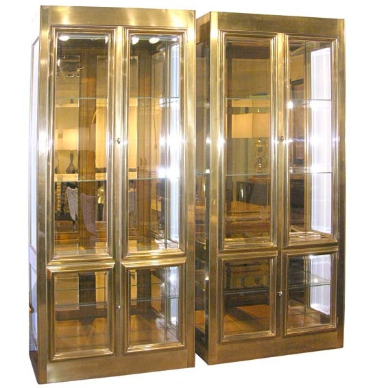 One Large Brass Mastercraft Vitrine Cabinet For Sale