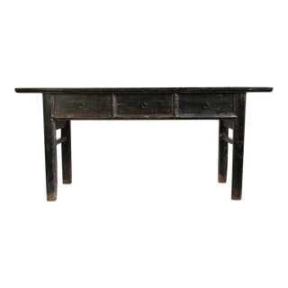 Black and Tan 3 Drawer Console For Sale