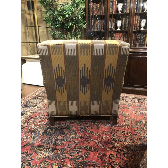 Rustic Ralph Lauren Blue Label English Roll Arm Chair in a Southwestern Themed Upholstery For Sale - Image 3 of 7