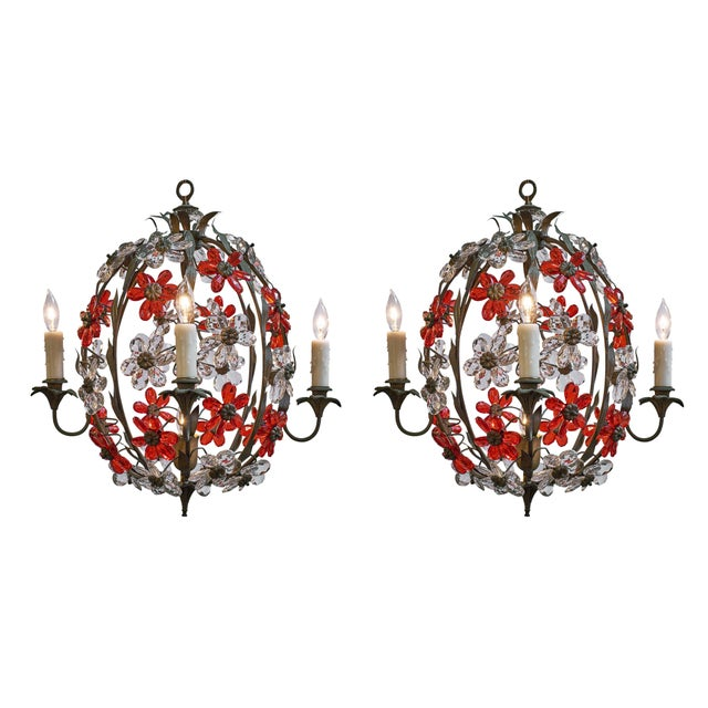 Maison Baguès Pair of Vintage Cage Chandeliers For Sale - Image 12 of 12