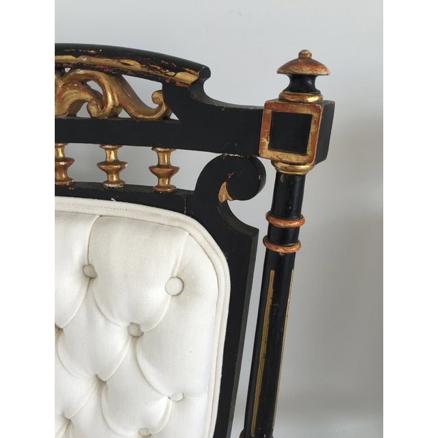 Italian 19th Century Ebonized and Gilded Chairs - Pair For Sale - Image 3 of 5