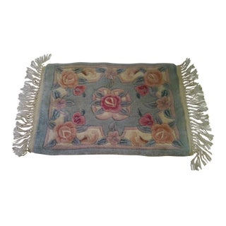 """Last Call Vintage Pale Green Floral Chinese Rug - 2' X 2'8"""" For Sale"""