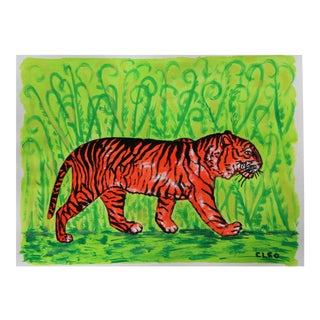 Tiger in Jungle Painting by Cleo Plowden For Sale